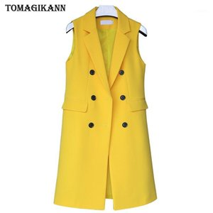Solid Long Style Women Suit Vest 2019 Korean Female Flap Pockets Double Breasted Turn Down Collar Waistcoat Femme Colete Tops1