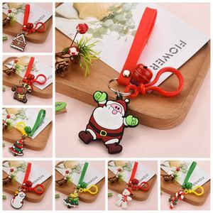 Cartoon Cute Christmas Keychain PVC Soft Glue Christmas Gift Pendant Car Bag Ornament Accessories Key Chain Party Favor 8 Styles RRA3735