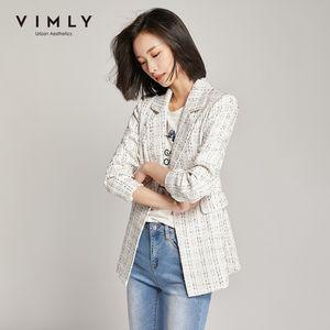 Vimly Femmes Blazers affaires Turn Casual Col bas un seul bouton Vintage Veste en tweed Femme Veste 98678 201009