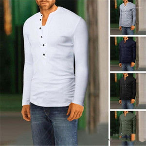 V Neck T-shirt Fashion Trend Solid Color Long Sleeve Casual Buttons Decoration Tops Tees Spring Male New Slim Tshirt Mens