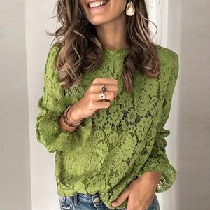 2020 Womens Lace Crochet Flower Blouses shirt Ladies Casual Solid color Long Sleeve Shirts female Spring o neck Hallow Out Tops