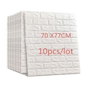 70*77cm 10pcs 3D Brick Wall Stickers DIY Self Adhensive Decor Foam Waterproof Wall Covering Wallpaper Kids Living Room 201203