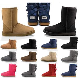 Ucuz Bayan Botları Kar Botları Klasik Kısa Ayak Bileği Diz Siyah Gri Kahverengi Kırmızı Pembe Mavi Kadınlar Kışlık Bot Sıcak Tutun Boyut 36-41