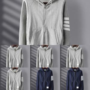 BSAJ8 TB Nuevo algodón con capucha con cremallera con cremallera de cuatro barras de cuatro barras para hombres y mujeres Classic Korean Zipper Suéter Casual abrigo abrigo Zippersweater Style NPV