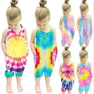 Baby Girl Одежда Tie Dye Infant Девушки Rompers подтяжк новорожденной девочки Комбинезоны рукавов Лето Детская одежда 6 цветов Дополнительный LSK1721