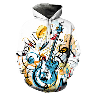 Cartoon Guitar 3D Printing Men Women Hooded Sweatshirts Multicolor Guitar Casual Hoodie Streetwear Personality Plus Size Hoodies trend