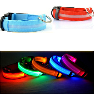 LED Nylon Pet Dog Collar 8Colors 4Sizes Night Safety LED Light Flashing Collar Glow Different kinds Dog Pet Leash Dog Flashing Safety Collar