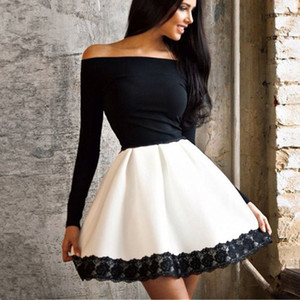BornToGirl Women Spring Autumn Winter Black White Slash Neck Long Sleeve Lace Stitching Sexy Dress robe femme 201125