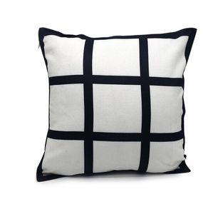 10pcs Pillow case Sublimation 9 panel pillow cover Duoble Sides Blank black linen heat transfer cushion cover throw sofa pillowcases 40*40cm
