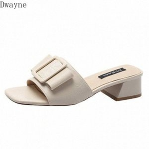 New Bow Open Toe Womens Slippers Summer Korean Girl Thick Heel Sandals High Heel Lazy Shoes 4cm e2S7#