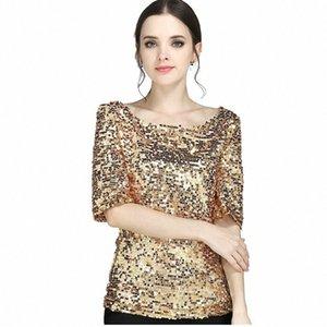 Shirt Tamanho Mulheres Preto 4XL 5XL Além disso shirt Casual Moda Sequins faísca Coctail Partido Top Blusa koszula-30 Y200402 z808 #