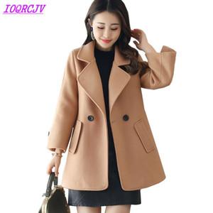 2020 donne Autunno Inverno panno di lana breve cappotto di panno di lana di colore puro boutique di moda cappotto la tuta sportiva più IOQRCJV H185