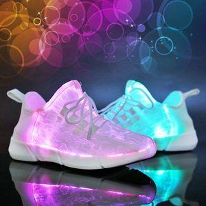 Luminosa de fibra óptica de tela ligera para arriba los zapatos del USB LED parpadeante blanca AdultGirlsBoys recargable de las zapatillas de deporte con la luz dRo4 #