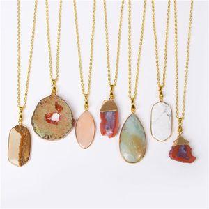 Druzy Agate Collana Charms quarzo delle donne Fetta Ciondolo collane di cristallo degli uomini del collare Brincos catena del pendente di pietra naturale