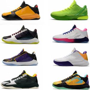 zapatos de los hombres de baloncesto manba 5 6 deportivos Negro zapatillas de deporte para jóvenes El cáncer de Bruce Lee amarillas formadores Joker púrpura
