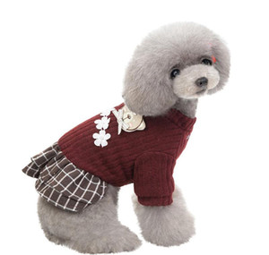 New Fashion Pet Elegant Skirt Autumn And Winter Keep Warm Cat Dog Clothing Plaid Skirt Cat qylcoF powerstore2012