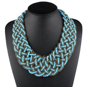 Claire Jin handgemachte gesponnene kleine Perlen böhmische Halskette arbeitet Weinlese-ethnische Schmucksachen kurzen Frauen-Kragen-Halskette