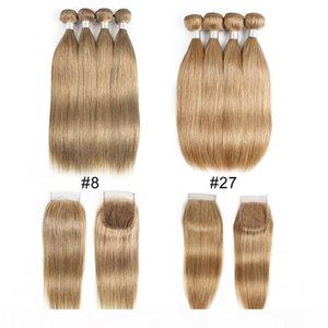 애쉬 금발 컬러 # 8 # 27 말레이시아 인도 직선 인간의 머리 번들로 폐쇄 4 번들로 4 × 4 레이스 폐쇄 레미 인간의 머리카락 확장