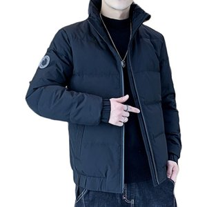 Winter Men's Windproof Slim Bright Solid Color Duck Down Jacket Parka Casual Thick Warm Coat