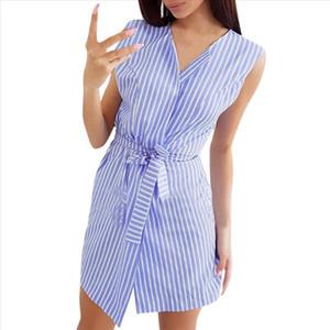 Women Summer Sexy Belt Tie Up Work Office Striped Sleeveless Short Mini Dress Vestidos De Verano Mujeres 2021 3s