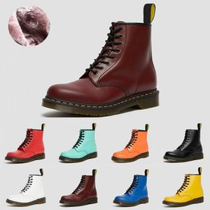 2021 Fashion Dr Martins 2976 leather fur womens boots 1460 winter snow booties doc shoes sneakers triple black white red men women boot 36-44