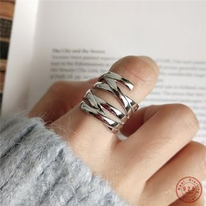 925 Sterling Silver Punk Hip hHop Fashion Creative Woven Bar Ring For Women Vintage Simple Party Jewelry Friendship Gift
