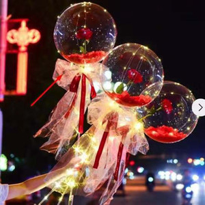 Sevgililer Günü LED Gül Topu Aydınlık Renkli Buket Balon Süslemeleri Sevgililer Günü Hediyeler Şeffaf Süsler VTKY2257