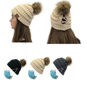 قبعة الشتاء الدافئة للمرأة محبوك متقاطع بوم بوم بيني الكروشيه القبعات النسائية ذيل بيني بنات تزلج قبعات بوم بوم قبعة 102005