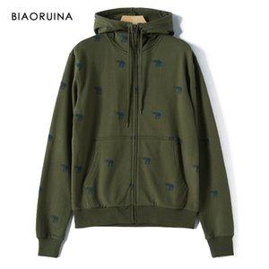 Biaoruina homem coreano estilo casual elefante impresso hoodies lenre forro moda confortabe quente moletom com zíper