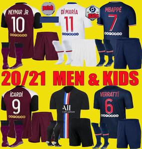 20 21 PSG뉴저지 MBAPPE 축구 유니폼 2020 2021 VERRATTI 네이 마르 남자 아이 JR은 ICARDI Maillots을 설정 축구 셔츠 KIMPEMBE 키트 유니폼 드