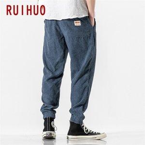 Ruihuo 2020 Sonbahar Kadife Harem Pantolon Erkekler Joggers erkek Pantolon Kore Streetwear erkek Rahat Pantolon Hip Hop Tracksuit M-LJ201217