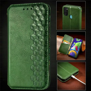 3D Cube Square Leather Wallet Case For Samsung Galaxy S20 FE S20FE Note 20 Ultra M51 M31s M01 Suck Magnetic Closure Holder Men Flip Cover