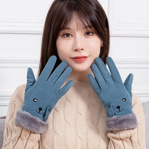 Cashmere Embroidery Suede Plush Touch Screen Mittens Lady Winter Velvet Thicken Warm Cycling Driving Gloves L61L