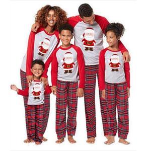 Pantalones 2020 Nuevo Navidad de la familia entre padres e hijos Inicio Servicio de Navidad Traje padres e hijos Inicio pijama de rayas de manga larga 2 piezas