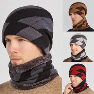 Men Windproof Scarf Pullover Hat Set Winter Thick Knitted Hat Outdoor Warm Cycling Windproof Ear Mask Wool Hip Hop Knitted
