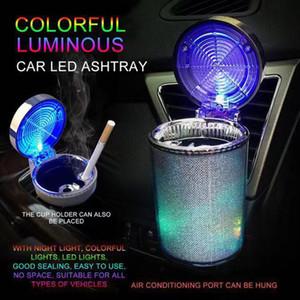 Araba Küllük ile LED Işık Sigara Küllük Konteyner Küllük Gaz Şişesi Duman Kupası Tutucu Saklama Kupası Aydınlık Küllük Araba Malzemeleri