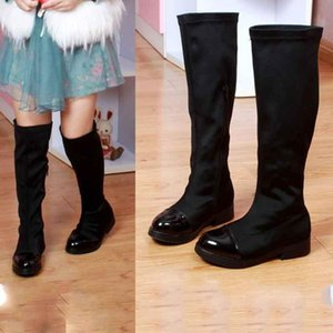 Princess Girls Long Boots Leather+Stretch Fabric Over Knee Comfortable Boots Fashion Dress Shoes Baby or Students Flat Shoes