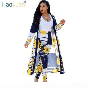HAOYUAN 2 Piece Set Women 2020 Plus Size Cardigan Long Trench Top And Bodycon Pants Suit Casual Clothes Summer Two Piece Outfits