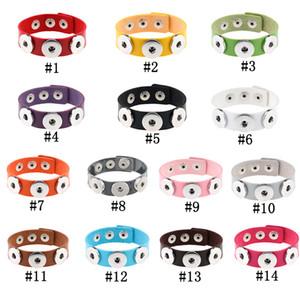 Bouton Bracelet Bangles 14 couleur cuir PU de haute qualité pour les femmes Bracelets 18mm Bouton Bijoux de Noël Décorations cadeau