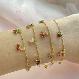 Bijoux Femmes Bracelet Insère Cherry Cerise Pêche Bracelet De Fruit Tropical Forêté Pour Femmes et Fille 11style T2C5291