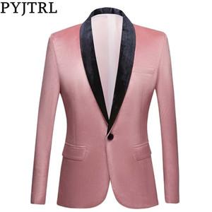 PYJTRL Men Shawl Lapel Peach Pink Velvet Slim Fit Blazers Wedding Groom Prom Dress Tuxdudo Coat Hombre Plus Size Suit Jacket 201014