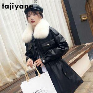 Chaqueta de invierno Tajiyane Wome chaqueta de cuero genuino de las mujeres 100% abrigo de piel Mujer abajo cubre cuello de la piel 2020 16558 WPY835