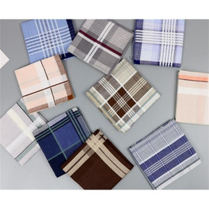 Sell Pure Cotton Daily Eco-friendly Hankerchief Check Men's Pocket Squares Assorted 12Pcs Per Lot Cheap Free Fast Shipping 201009