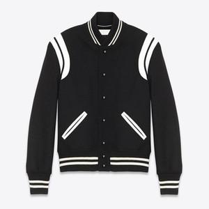 venda quente 20FW Color Matching emenda PU Baseball Jacket listras Primavera Outono Zipper Jacket Outdoor Homens Mulheres High Street Outwear