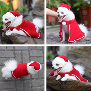 Weihnachten Pet Hat Warp-Sets Teddy Hund Cape Hut Kleid-Mantel-Weihnachten Haustier volles Kleid Dekor Weihnachten Pet Hat Cape SuitDog Bekleidung GGE2018