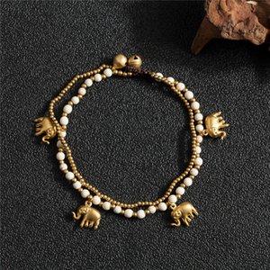 Amourjoux handgefertigt Zwei Ebenen Elefant Charme Bein Fußklets für Frauen Weiß Perlen Kette Knöchel Armband Anklet Foot Schmuck T200901
