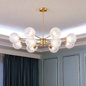 Modern Luxury Glass Copper Chandelier Lighting Spherical Ball Lights LED Bulb Indoor Chandeliers Living Room Dining Room Lamp
