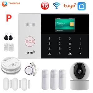 تويا الجيل الثالث 3G WIFI GSM جي بي آر إس اللاسلكي 433MHz والرئيسية نظام إنذار ضد السرقة مع كاشف دخان كاميرا IP إنذار الأمن كيت SmartLife APP