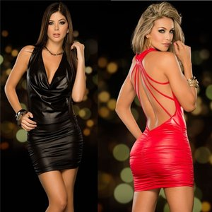 Langerie Sexy Erotic Womens Sexy Lingerie Black Backless Latex Leather Costume Erotic Night Clubwear Pole Dance Dress Y200425