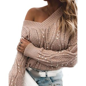 Women Pearl Beading Pink Long Sleeve Casual Loose V Neck Knitted Pullover Sweaters 2020 Plus Size Winter Fall Knitwear SJ7203V